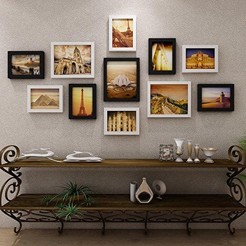 Die Bilder im Wohnzimmer an der Wand Dekoration Wandrahmen kreative Wand Foto wand Kombination.11.BilderrahmenDassDer Name des HerzenSchwarz und Weiß, (Holz Name Keychain)