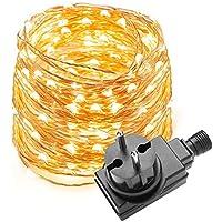 LE Cadena de luces LED 10m, alambre de cobre impermeable, 100 LED blanco cálido, guirnalda de luces, decoración para navidad, fiestas, bodas, jardines, festivales