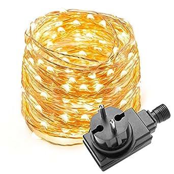 LE Stringa luminosa 10m, 100 LED in rame Impermeabile IP65 Flessibile luce Bianca Calda per Decorazione Feste Natale Casa Negozio
