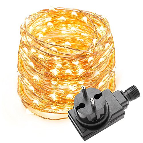 LE Cadena de luces LED 10m, alambre de cobre impermeable, 100 LED...
