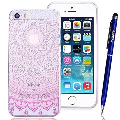 Coque iPhone 5/5s/SE, Yokata Housse Étui Clair Transparente en TPU Silicone pour Apple iPhone 5/5s/SE (4 pouces) Ultra Mince Hybrid Crystal Coque PC Dur Couverture Arrière avec Motif Tribal - Lotus Fleur Blanc et Rosa