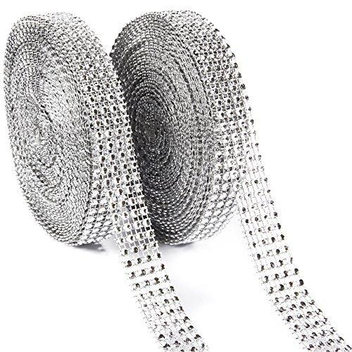 Pack 9,1Silber Diamant Mesh Wrap Rolle für DIY, Hochzeit Kuchen Dekorationen, Geburtstag Party Supplies, 1,9cm in Breite ()
