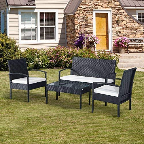 Salon de Jardin Ensemble de 2 Chaises+1 Canapé+1 Table Noir Anthracite by Rattan