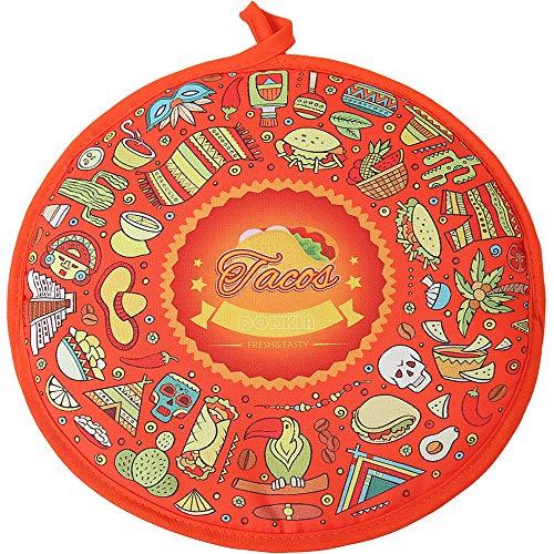 DOKKIA Tortilla Wärmer 30,5 cm isolierter Stoffbeutel - mikrowellengeeignet, um Lebensmittel bis zu einer Stunde warm zu halten 30,5 cm Taco Fiesta Themed Party Cinco De Mayo Tortilla Keeper