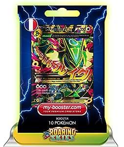 MEGA RAYQUAZA EX Full Art 105/108 220HP XY06 ROARING SKIES (Ciel Rugissant) - Booster optimisé ATTAQUE ECLAIR de 10 cartes pokemon Anglaises