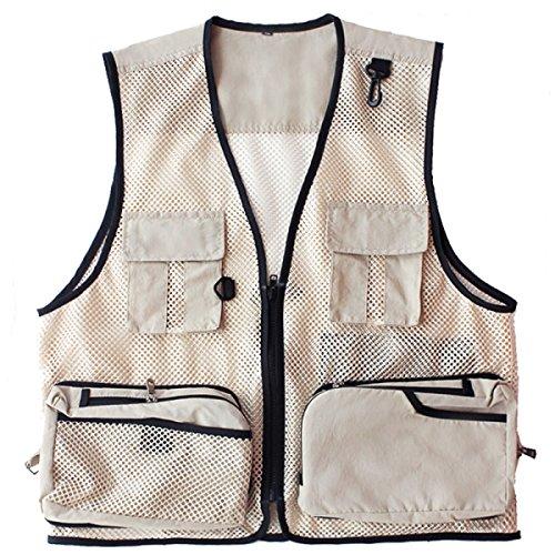 Sommer-Absatz-Mesh Weste Photography Outdoor-Herren-Anglerweste Multi Tasche Loses Beiläufiges Kleid Gray
