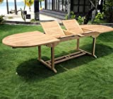 Table de jardin en teck brut XXL 200-250-300 cm double rallonge