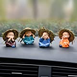 Lintimes Monk Car Crafts Decoration,Cute Small Kung Fu Creative Resin Little Monks Straw Hat for Car Dashboard,Home Office,In