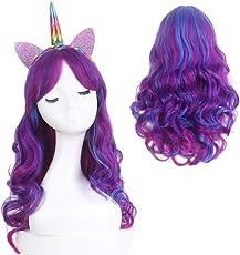 STfantasy Einhorn Perücke Damen Mädchen Lolita Cosplay Lang ombre blau lila Verträumt Süß wig mit pony für Halloween Party Karneval