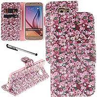 Urvoix Galaxy S6caso, titular de la tarjeta soporte Funda de piel sintética con tapa–rosa flores funda con tapa para G920samsung galaxy s6
