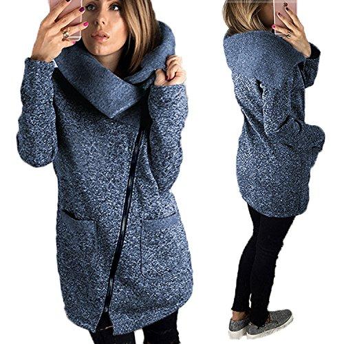 BAINASIQI Felpa con Cappuccio da Donna Inverno Elegante Chiusura a cerniera asimmetrica manica lunga Felpa Giacca Casual Cappotto Maglione Blu