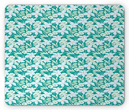 ASKSSD Botany Mouse Pad, Nostalgic Blossoming Flower Garden with Pale Tone Pastel Colors, Standard Size Rectangle Non-Slip Rubber Mousepad, Pale Green Pale Blue Sea Green -