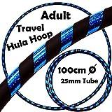 PRO Hula Hoops (Ultra-Grip / Glitter Deco) Gewichtetes TRAVEL Hula Hoop (100cm / 39 ') Hula Hoops Für Übung, Tanz & Fitness! (640g) KEINE Anleitung gebraucht - gleicher Tag Versand! (Schwarz / Blau Glitzer)