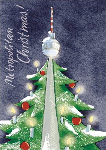 Wünschen Sie: Metropolitan Christmas! mit dieser Berliner Weihnachtskarte und dem Berliner Fernsehturm • auch zum direkt Versenden mit ihrem persönlichen Text als Einleger.