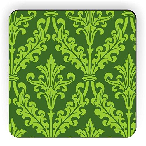 Rikki Knight Olive Grün Farbe Damast Design Quadratisch Kühlschrank Magnet