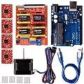 Quimat Arduino CNC Steuerung Kit mit Schrittmotor, CNC Schirm V3.0 + UNO R3 + 4 PCS A4988 Treiber + Nema 17 Schrittmotor für 3D Drucker Printer CNC, GRBL Kompatibel