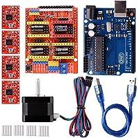 Quimat Arduino CNC Kit with Stepping Motor,CNC Shield V3.0 + UNO R3 + 4 PCS A4988 Driver + Nema 17 Stepping Motor for 3D Printer CNC,GRBL Compatible