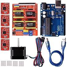 Quimat Arduino CNC Kit mit Schrittmotor, CNC Schirm V3.0 + UNO R3 + 4 PCS A4988 Treiber + Nema 17 Schrittmotor für 3D Drucker Printer CNC, GRBL Kompatibel