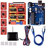 Quimat Arduino CNC Kit with Stepping Motor,CNC Shield V3.0 + UNO R3 + 4 PCS A4988 Driver + Nema 17 Stepping Motor for 3D Printer CNC,GRBL Compatible immagine