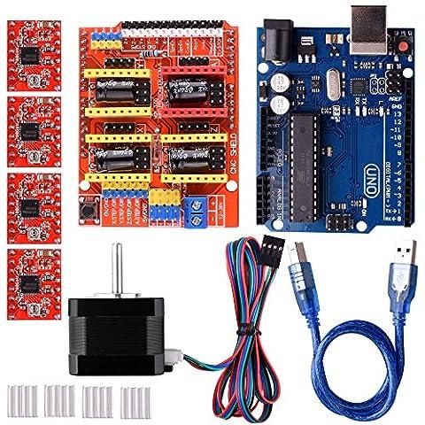 Quimat Arduino Kit CNC avec Moteur ,CNC Shield V3.0 + UNO R3 + 4 pcs A4988 Driver + Nema 17 Moteur pour Imprimante 3D, GRBL Compatible