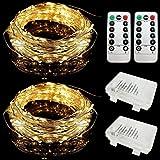 E-Goal 2 Set 5Meter 50 Micro LEDS Flexible Sliver Wire Batteriebetriebene Starry Streifen Lichter Wasserdicht für Indoor & Outdoor Dekoration Mit 8 Modi Fernbedienung (5m, Warm-Weiß)