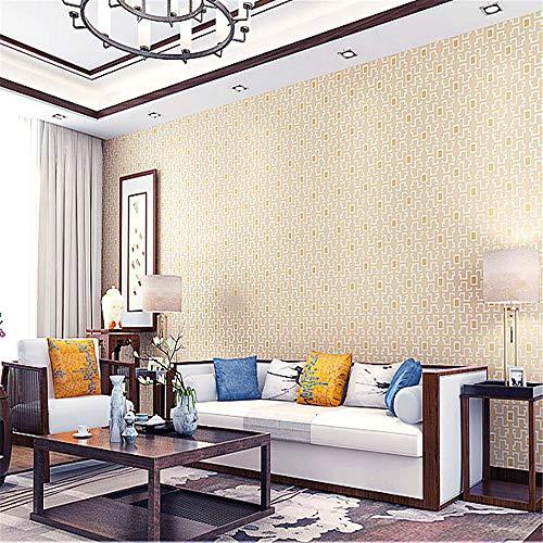 Moderne chinesische art einfache kleine gitter vliestapete restaurant arbeitszimmer wohnzimmer schlafzimmer korridor hintergrund hellbraun 0,53 * 9,5 mt