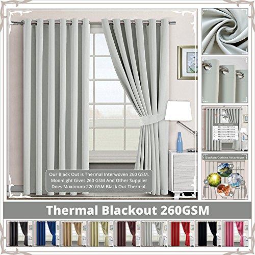(Kinderzimmer Decor Öse Paar Verdunklungsvorhänge Thermo Energiesparend Ring Top Vorhänge für Verdunkeln + 2Raffhaltern, silber, 90