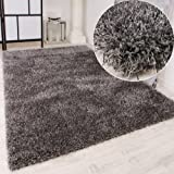 Shaggy Teppich Hochflor Langflor leicht Meliert Qualitativ u. Preiswert Uni Grau, Grösse:160x230 cm