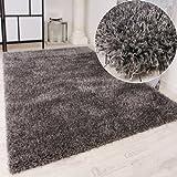 PHC Shaggy Teppich Hochflor Langflor leicht Meliert Qualitativ u. Preiswert Uni Grau, Grösse:160x230 cm
