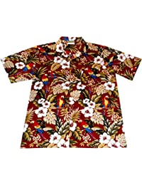 "Chemise Hawaienne Homme ""Hawaiian Parrots (red)"" 100% coton, taille M – 6XL, rouge"