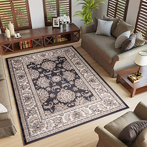 Tapiso Colorado Teppich Wohnzimmer Kurzflor Klassisch Orientalisch Schwarz Creme Floral Ziegler Ornament Muster Orientteppich ÖKOTEX 60 x 100 cm -