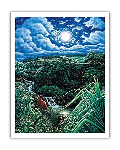 Pacifica Island Art Vollmond Über Sieben Heiligen Pools-Die Pools von 'Ohe 'o Maui Hawaii-Ursprüngliche Farbe Malerei von Hans Olson-Hawaiian Fine Art Print 11