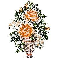 PLAUENER SPITZE ® Windspiel rote ROSEN Fensterbild SOMMER Dekoration Fensterdeko