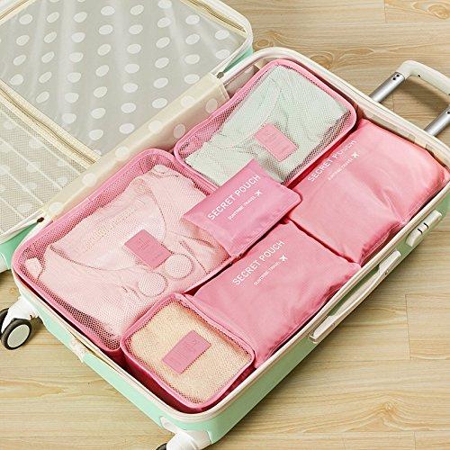 Kleidertaschen-Set 6-teilig IHRKleid® Reisetasche in Koffer Wäschebeutel Schuhbeutel Kosmetik Aufbewahrungstasche Farbwahl (Dunkelblau) Rosa