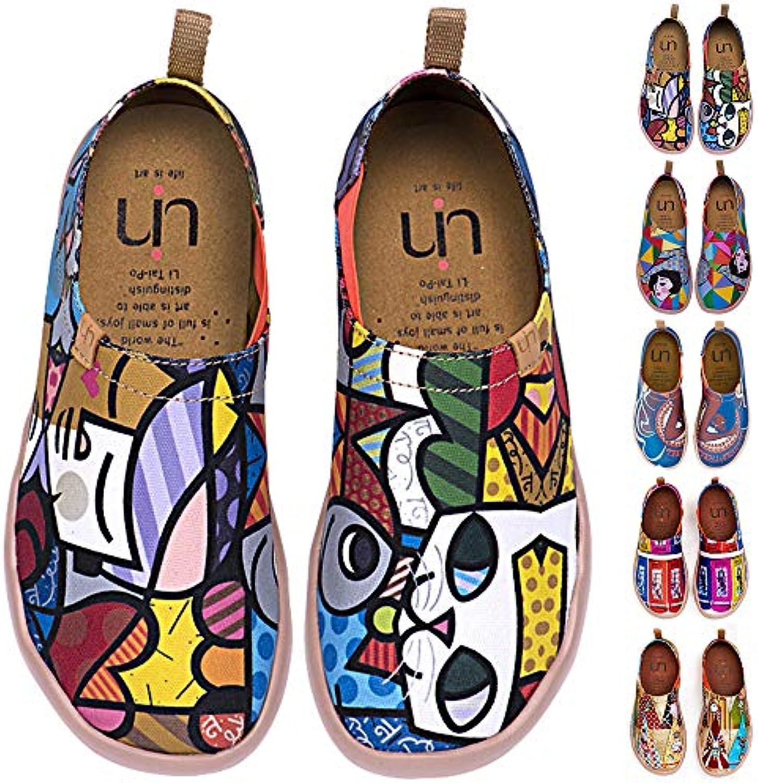 UIN Scarpe Donna Espadrillas Basse Stampato Tela Scarpe Casuali Scarpe Slip On Flats | Colore Brillantezza  | Scolaro/Ragazze Scarpa