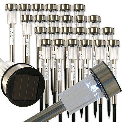 24 x LED Solar Leuchten Edelstahl Solarleuchte Solarlampe Gartenleuchten Garten
