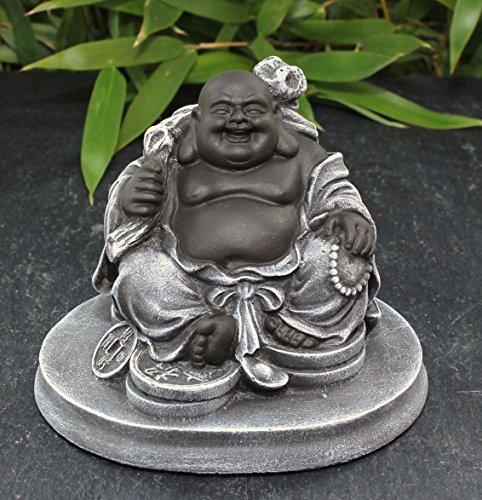 Glücksbuddha Figur – Schwarz/Schiefergrau - 2
