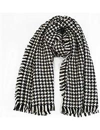 9e28e62ff0b Linyanni Écharpe Douce à col châle Noir et Blanc Pied de Poule Imitation  Laine épais châle