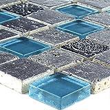 Glas Resin Stein Mix Blau Silber Mosaik Fliesen