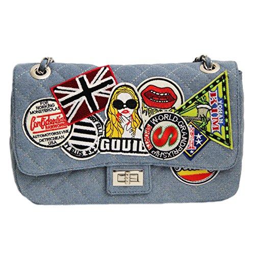 sweet deluxe 6462 Handtasche Sharon jeansblau-multi-coloured, Damen-Handtasche als Schultertasche, große Handtasche für alle Anlässe, Umhängetasche für Hochzeit, Geburtstag, Abiball, Geschenk (Longchamp Große Handtasche)