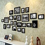 Painting Mantra Art Street Extravagant Wall Hanging Individual Photo Frame- Set Of 23 (Multiple Size , Black)