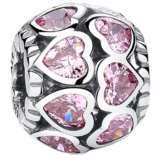 SaySure - 925 Sterling Silver Love All Around Pink CZ Heart Charm