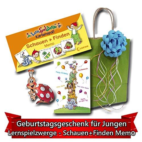 Geburtstagsgeschenk für Jungen ab 4 Jahre - Lernspielzwerge - Schauen und Finden Memo