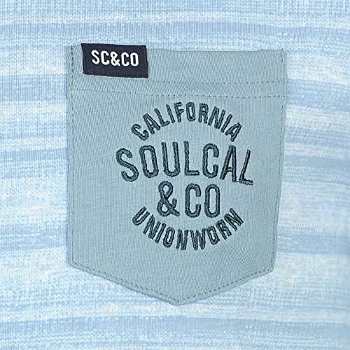 SoulCal Herren Dip Dye T Shirt Kurzarm Rundhals Brusttasche Bestickt Logo Blau Allover