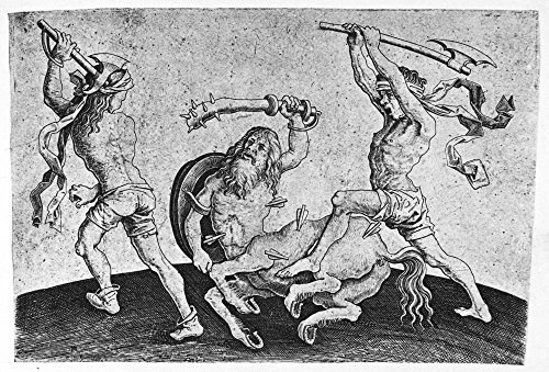 Dutch Master Collection (Fight with A Centaur. /Nline Engraving Dutch Late 15Th Century by Master I.A.M. of Zwolle. Kunstdruck (45,72 x 60,96 cm))