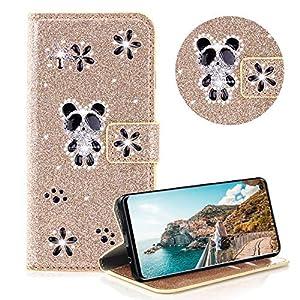 Glitzer Strass Brieftasche für Galaxy S10,Leder Handyhülle für Galaxy S10,Moiky Luxus 3D Magnetisch Kristall Niedlich…