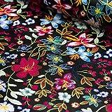 Kunstleder Lederimitat schwarz mit bunten Blumen - Meterware - Stoff zum nähen