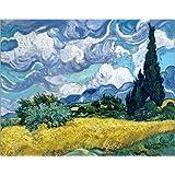 Cuadro sobre lienzo 50 x 40 cm: Wheatfield with Cypresses de Vincent van Gogh - cuadro terminado, cuadro sobre bastidor, lámina terminada sobre lienzo auténtico, impresión en lienzo