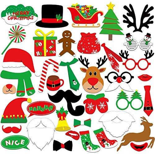 KUUQA 39 Stücke Weihnachten Foto Booth Props Kit Frohe Weihnachten Party Dekoration