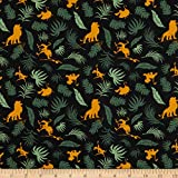 Disney 0661035 The Lion King Leaves in Black Fabric Stoff,